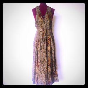 Vintage 90s Maxi Dress Deep V Paisley Print M